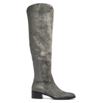 Timba Flat Knee High Boot In Charcoal Leather