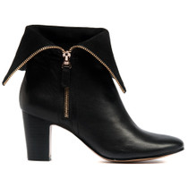 Enurt Heeled Ankle Boots in Black Leather