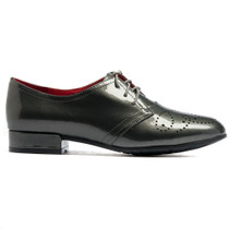Karamor Lace Up Flats in Charcoal Patent Leather
