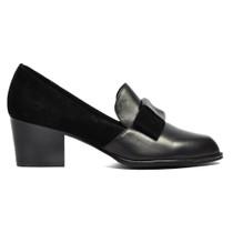 Rebas Heeled Loafer in Black Leather