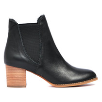Sadorie Ankle Boots Pull On in Black Leather