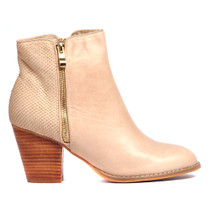 Robys Heeled Ankle Boots in Beige Leather