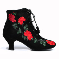 Nenderson Heeled Ankle Boots in Black Suede