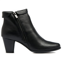 Kinship Heeled Ankle Boots in Black Leather