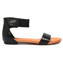 Juzz Flat Sandal in Black Leather