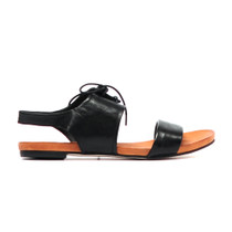 Jamesy Flat Lace Up Sandals in Black Leather