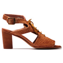 Dawn Heeled Sandal in Beige Leather