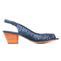 Gordon Heeled Sandal in Navy Leather