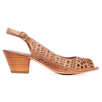 Gordon Heeled Sandal in Taupe Leather