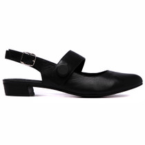 Earful Heeled Sling Back in Black Leather