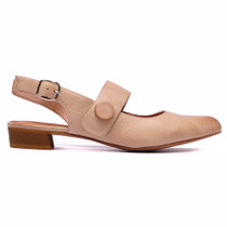 Earful Heeled Sling Back in Latte Leather
