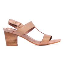 Zebula Heeled T-Bar Sandal in Taupe Leather