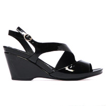 Natter Heeled Wedge Sandal in Black Patent Leather