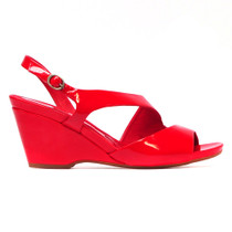 Natter Heeled Wedge Sandal in Red Patent Leather