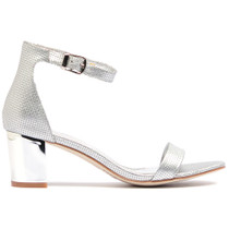Quadrant Heeled Sandal in Silver Leather