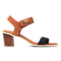 Quno Heeled Sandal in Navy Tan Leather