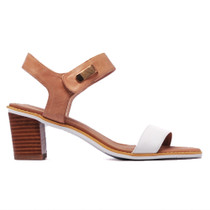 Quno Heeled Sandal in White Latte Leather