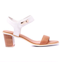 Quno Heeled Sandal in Tan and White Leather