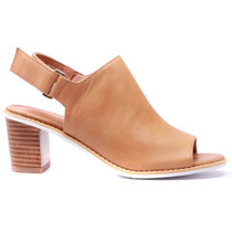 Quote Heeled Sandal in Tan Leather