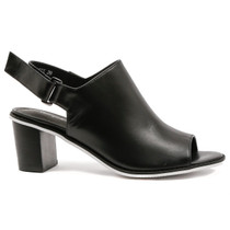 Quote Heeled Sandal in Black Leather