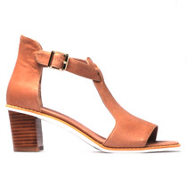 Quench Heeled Sandal in Latte Leather