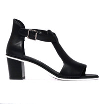 Quench Heeled Sandal in Black Leather