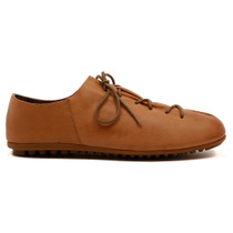 Barlow Lace Up Flat in Tan Leather