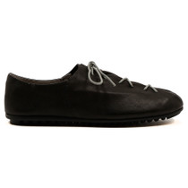 Barlow Lace Up Flat in Black Leather