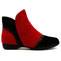 Trap Flat Boot in Red Combo Leather