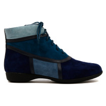 Tricky Flat Boot in Navy Multi Leather