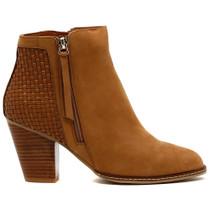 Carol High Heel Boot in Tan Leather