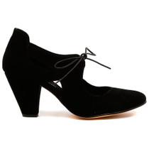 Cuff Heel in Black Leather