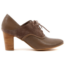 Evian Heel in Taupe Leather
