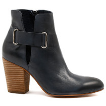 Hebe Heeled Boot in Navy Leather