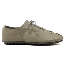 Barlow Lace Up Flat in Grey Leather