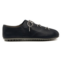 Barlow lace Up Flat in Navy Leather