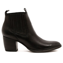 Brood Heeled Boot in Black Leather