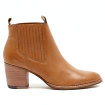 Brood Heeled Boot in Tan Leather