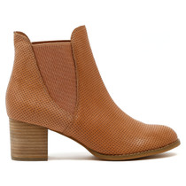Sadaria Heeled Ankle Boot in Nude Leather