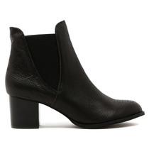 Sadaria Heeled Ankle Boot in Black Leather