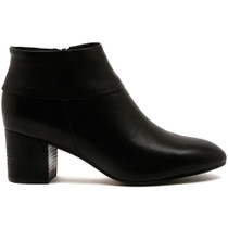 Ramie Heeled Ankle Boot in Black Leather
