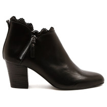 Darcie Heeled Ankle Boot in Black Leather