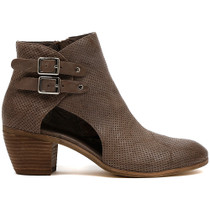 Meanie Heeled Ankle Boot in Grey Leather