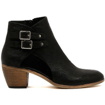 Meanie Heeled Ankle Boot in Black Leather