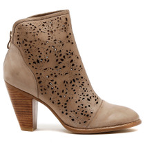Vizzy Heeled Ankle Boot in Taupe Leather