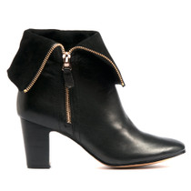 Enurt Heeled Ankle Boot in Black Leather