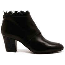 Darwin Heeled Ankle Boot in Black Leather