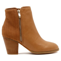 Robys Heeled Ankle Boot in Tan Leather