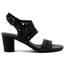 Caviare Heeled Sandal in Navy Leather