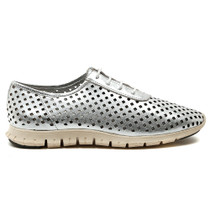Rodney Lace Up Sneaker in Silver Leather
